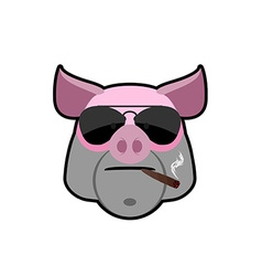 Angry boar Pig head with glasses and a cigarette vector image