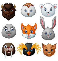 animals head cartoon collection vector image