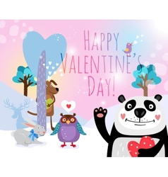 animals with hearts on Valentines Day for vector image