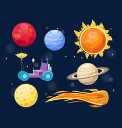 Astronomy space cartoon set vector
