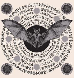 Banner with hand-drawn bat and coronavirus cells vector
