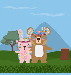 Bear and rabbit cute hippie cartoon vector