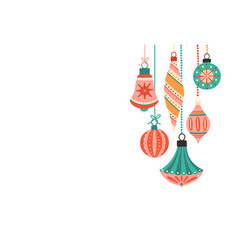 Beautiful christmas tree decorations flat vector