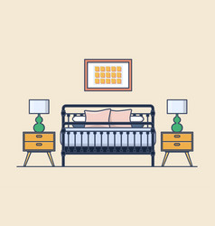 Bedroom interior with bed and nightstand lamp vector