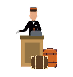 Bellboy with luggage at reception vector