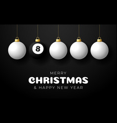 billiard merry christmas and happy new year sport vector image