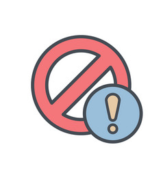 block cancel lock stop warning icon vector image