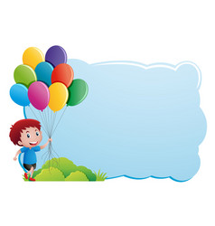 border template with boy holding balloons vector image