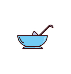 Bowl glass with ladle vector