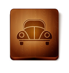 Brown car volkswagen beetle icon isolated on white vector
