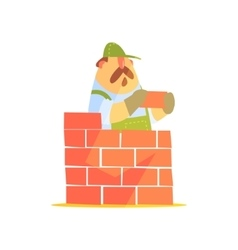 Builder laying a brick wall on construction site vector