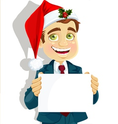 Businessman in Santas cap vector image