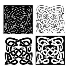 Celtic knot pattern of tribal snakes interlacement vector
