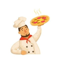 Chef Holding PizzaPart Of Italian Fast Food vector