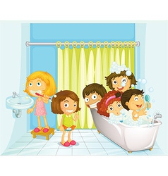 Children in bathroom vector