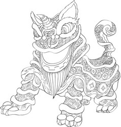 Chinese new year lion dance with line art style vector