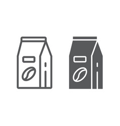 Coffee paper bag line and glyph icon coffee vector