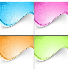 Colorful wave folder templates set vector image