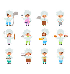 Cooking child children characters boy girl vector