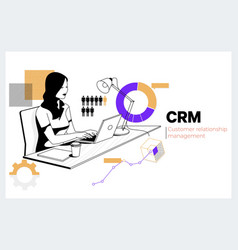 crm customer relationship management business vector image