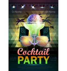 Disco ball background Disco cocktail party poster vector
