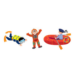 diver sailor in the boat and scuba diver vector image