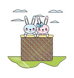 Doodle happy couple rabbit animal inside hamper vector