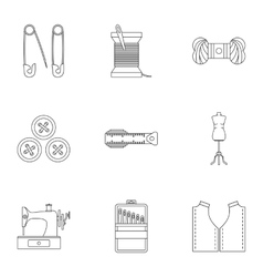 Embroidery kit icons set outline style vector image