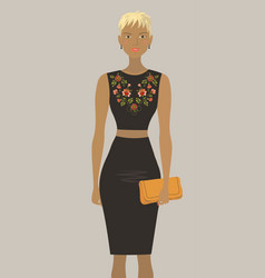 Fashion model in the black embroidered dress vector