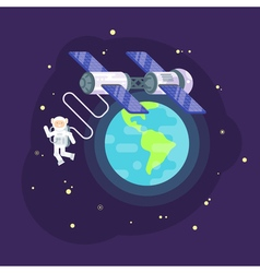 Flat style of space station and astronaut in outer vector