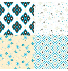 floral and geometry seamless pattern set vector image