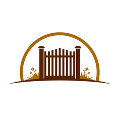 Garden old gate logo symbol graphic design vector
