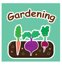 Gardening with vegetables vector