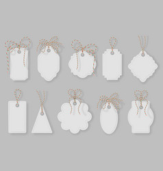 gift tag label frame price tags with twine bows vector image