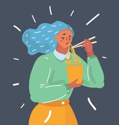 Girl enjoying her ramen noodle chopstick vector