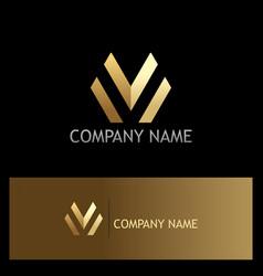 Gold letter m line business logo vector