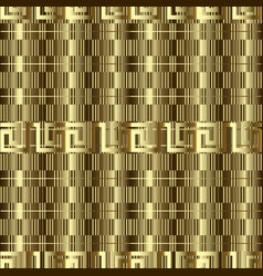Gold textured 3d greek seamless pattern vector