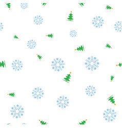 green christmas tree and snowflake seamless vector image