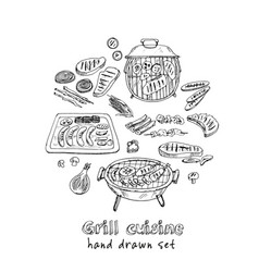 grill cuisine menu doodle icons vector image