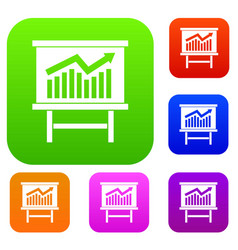growing chart presentation set collection vector image