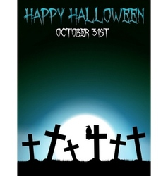 Halloween graveyard with crosses vector image
