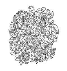 Hand Drawn Ornament with floral pattern vector image