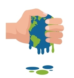 Hand holding planet earth melting icon vector