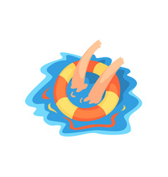 Hands of drowning man with lifebuoy vector