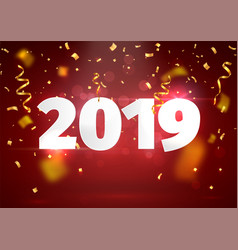 happy new year red background with blur golden vector image