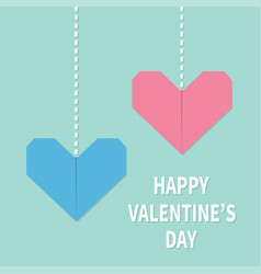 happy valentines day sign symbol pink blue vector image