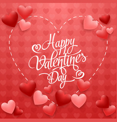 happy valentines day with hearts on red vector image