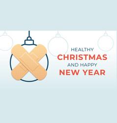 healthy christmas and happy new year coronavirus vector image