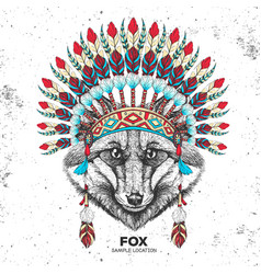 hipster animal fox with indian feather headdress vector image