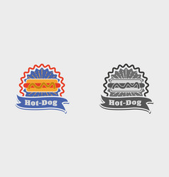 Hot dog vintage sign badge label or logo vector